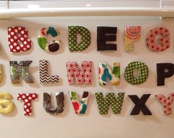 Fabric Alphabet Letters, Quilted Fridge Magnets, ABC's, Letter Toys, Preschool, Educational Toys, Birthday Gift - Fun Summer Entertainment!