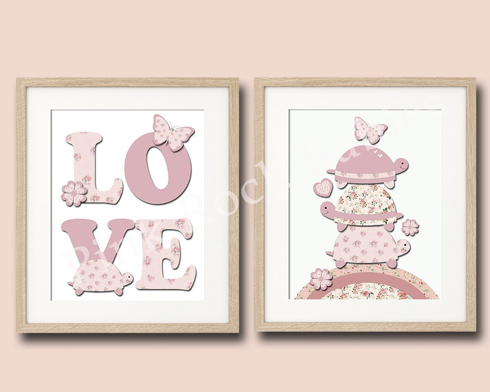 Curtains For Baby Girl Nursery: Pink Nursery Decor Turtle Baby Girl Wall Decor By