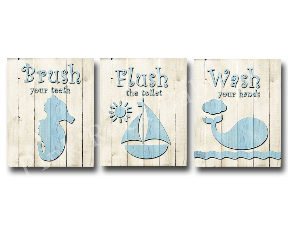 Wood wall decor for baby boy bathroom rules brush wash flush for Bathroom decor rules