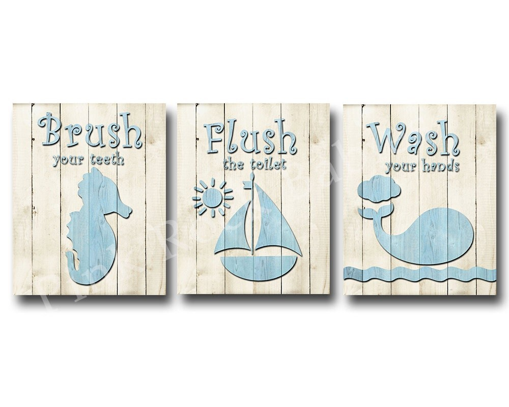 Bathroom Rules Wall Decor : Wood wall decor for baby boy bathroom rules brush wash flush