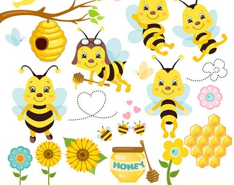 "Honey bee clipart: ""Bee clipart"" bees clip art,  bumble bee clipart for scrapbooking, cardmaking, invitations, personal and commercial use"