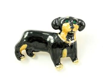 Dachshund Brooch Black Tan Weenie Dog Broach Dachshunds Brooches Jewelry