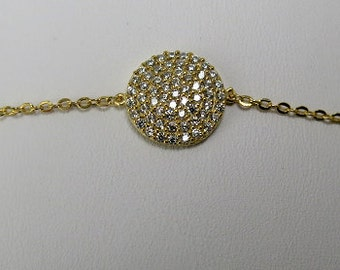 Sterling silver with gold vermeil cz disc bracelet
