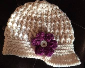 Newsboy women's hat with flower