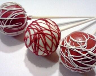 Mi Amor Cake Pops, Red Cake Pops, Red and White Cake Pops, 1 Dozen