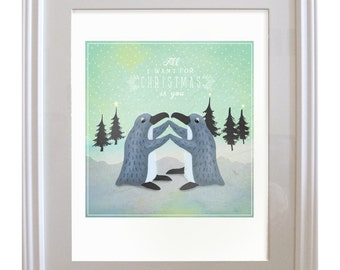 Penguin Holiday Love Print