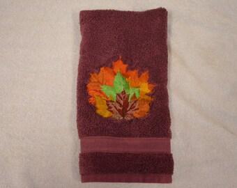 Burgandy Autumn Leaves Hand Towel