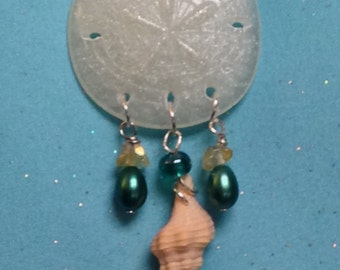 Resin Sand Dollar with pearls and shell