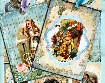 ALICE printable atc size  - Digital collage sheet wonderland painting jewelry holder instant download background paper - ac105