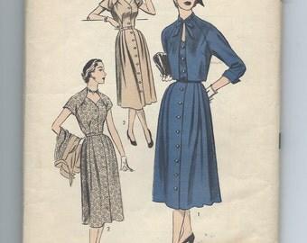 Advance 6345, Vintage 1940's  Button Front Dress with Bolero Jacket