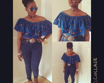 AFRICAN PRINT crop top with ruffles