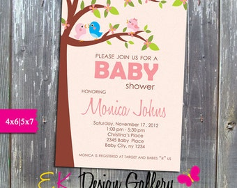 Baby Shower Invitation, Baby Shower Girl Invite, Baby Shower Birds Invitation, Baby Shower Party, Personalized Invitation, Printable Invites