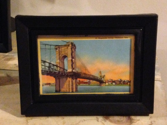 Vintage Framed Suspension Bridge Cincinnati Postcard 4X6 in frame Historic Cincinnati downtown Ohio River