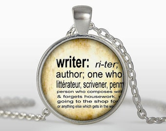 Writer Pendant, Writer necklace, Silver Plated pendant, Jewelry, brown, black