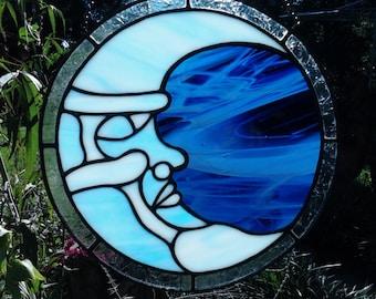 Decorative Stained Glass Blue Moon suncatcher/window art