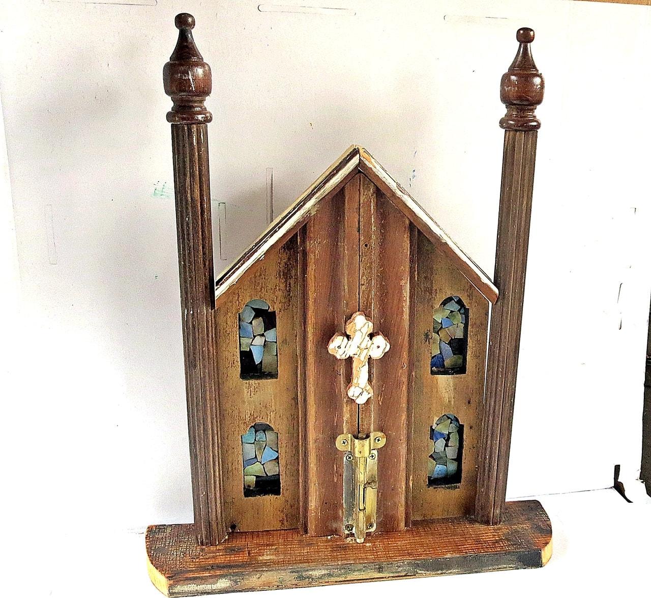 reclaimed wood church religious wall art christian decor. Black Bedroom Furniture Sets. Home Design Ideas