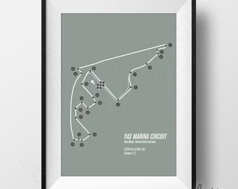 Yas Marina Circuit Print - Formula 1 Edition - F1 Race Track Circuit Map - 8 x 10 - Abu Dhabi, United Arab Emirates