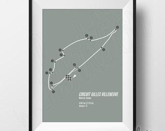 Circuit Gilles Villeneuve Print - Formula 1 Edition - F1 Race Track Circuit Map - 8 x 10 - Montreal Canada