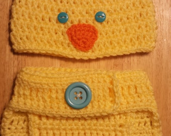 Baby Chick Diaper Cover & Beanie Set