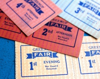 10 Vintage Fair Tickets 1960s Kentucky Pink Red Greenup Fair Ride Farm Paper Gift Tag Epherema Scrapbooking