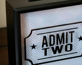 """Admit Two or Admit One 8x8"""" Shadow Box, Adventure Fund, Ticket Holder, Vintage Valentine, Ticket Stub Holder Shadow Box, Ticket Shadow Box"""