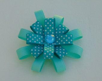 3 inch Aqua loopy hair bow