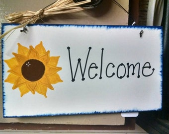 Welcome or kitchen sunflower hand painted sign Personalized
