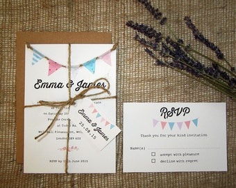 Fabric bunting wedding invitation with rsvp, twine and tag / rustic invitation / kraft card / vintage / country wedding / village fete