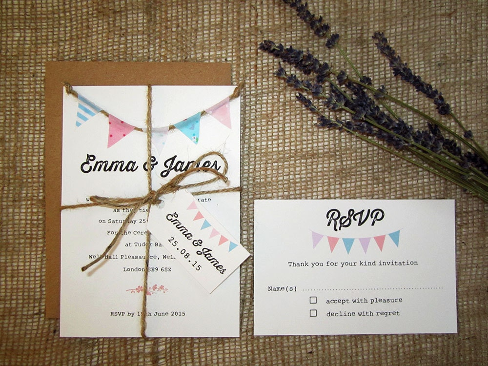 Bunting Wedding Invite: Fabric Bunting Wedding Invitation With Rsvp Twine And Tag