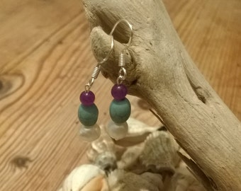 Handmade Sterling Silver, Amethyst, Turquoise and Baroque Freshwater Pearl Bead drop earrings