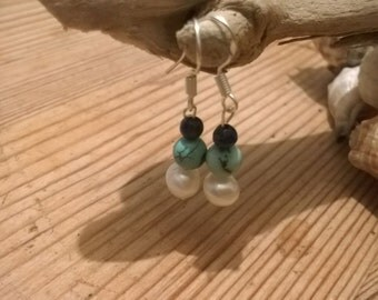 Handmade Sterling Silver, Lapis Lazuli, Turquoise and Freshwater Pearl Bead drop earrings.