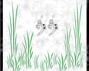 Bass Clef Sterling Silver Earrings