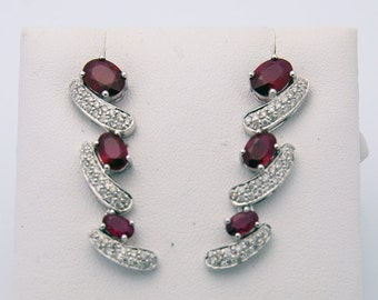 4.3 Carat Dark Red Ruby and Pave Diamond Drop Earrings 18K White Gold