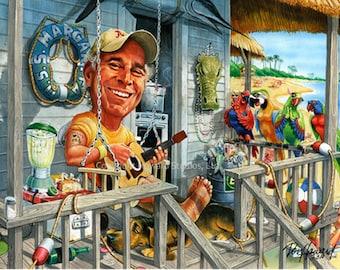 Don Howard's Depiction of Jimmy Buffett Margaritaville Celebrity Caricature Art Print