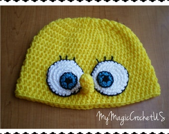 SpongeBob SquarePants Crochet Hat Made with Soft yarn