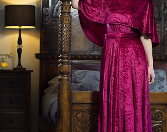 1970s Ruby Panne Velvet Gown,Christmas dress, special occasion,