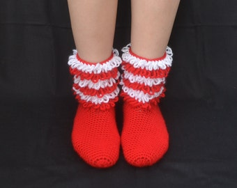 Red and White Socks with Thrums, Crochet Christmas Socks, Home Boots, Home Shoes, House Shoes, House Boots, Winter Fashion,Women Accessories