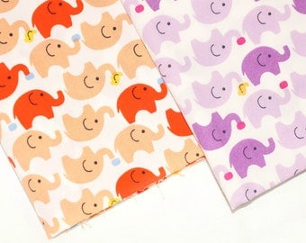 Cute Elephant Fabric with white background, kid, girl,  of 100% Cotton Fabric Fat Quarter., half yard, yard.
