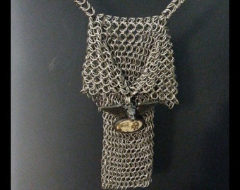 handmade chainmail steampunk shoulder bag.