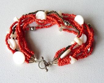 Sterling Silver Multistrand Bracelet Vintage Mother of Pearl Bracelet  925 Handmade Bracelet Girls Jewelry, Boho Bracelet Retro  Red Jewelry