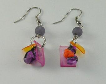 Purple ball earrings, upcycled jewelry