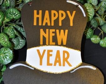 Wood and Vinyl New Year's Holiday Door Hanger