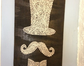 Mustache man in a top hat string art