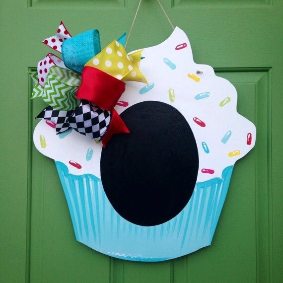 Items Similar To Chalkboard Cupcake Hand Painted Wooden Door Hanger On Etsy