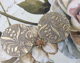 Antique gold brass embossed flower Lilly pendants 10 pc