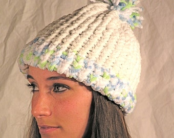 White And Powder Blue Winter Hat