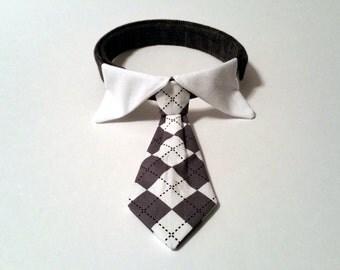 Dog Tie Collar - Grey Argyle