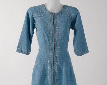 Bismark Blue Front Zipped Hand Studded Tunic Dress