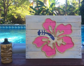 Handmade Hibiscus with Rope Beach Pallet Art Coastal Decor Rope Art Pallet Art