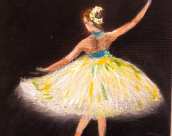 """BALLET DANCER--- original oil painting mini art from my """" sweets"""" collection gorgeous one of a kind piece of art.Now*******Free Shipping****"""